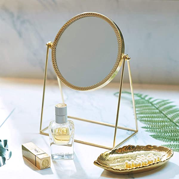 PuTwo Makeup Mirror Single Sided Vanity Mirror Vintage 360 Rotation Metal Cosmetic Mirror Round Beauty Mirror Handmade Make Up Mirror For Dresser Vanity Table Desk Champagne Gold