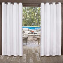 Exclusive Home Curtains Miami Textured Sheer Indoor/Outdoor Window Curtain Panel Pair with Grommet Top, 54x96, Winter White, 2 Piece