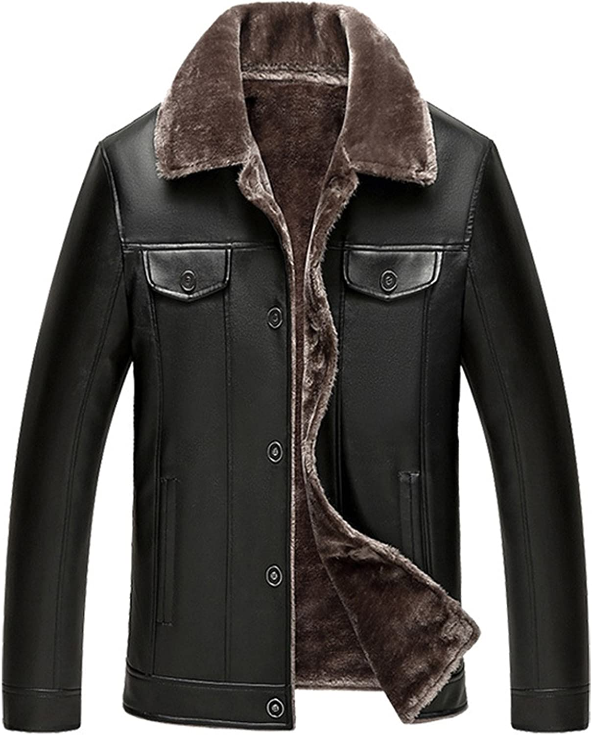 SS Men Casual Slim Solid Lapel Surprise price Single excellence Fau Breasted Fleece Lined