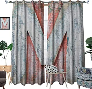 Letter M Patterned Drape for Glass Door Old Wood Capital Letter M Natural Worn Out Look Texture Language Image Waterproof Window Curtain W84 x L108 Coral White Cream