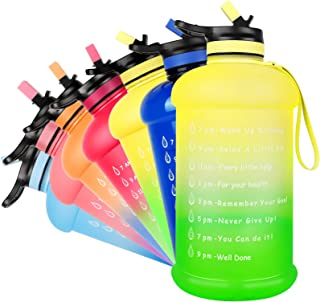NEEKFOX Water Bottle, 73OZ/0.6 Gallon Motivational Large Water Bottle with Straw & Time Marker, Leakproof BPA Free Big Water Jug, Wide Mouth Portable Water Bottle for Fitness Outdoor Sports