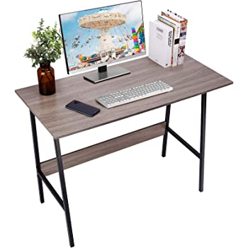 """Viewee Computer Desk, Easy Assembly, Laptop Study Table 39"""" Writing Desk, Home Office Desk with Wood Block Support, Trapezoidal Structure Modern Student Desk, Brown (Gift: Table Edge Protectors)"""