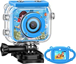 Kids Camera,Gofunly Waterproof Action Video Digital Camera,Underwater Sports HD Camcorder for Boys Girls with 1080P 12MP 2.0 Inch Large Screen,32GB Memary Card,Card Reader (Summer Blue)