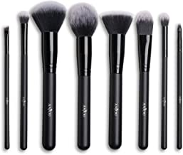 Makeup Brush Set Anjou Professional 8pcs Cosmetics Brushes with Synthetic and Vegan Bristles (Powder, Bronzer, Foundation, Contour, Stippling Smudging, Angled, Lip)