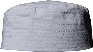 Plain White Flat Top Simple Stitch Design Fabric Prayer Skull Cap Muslim Kufi