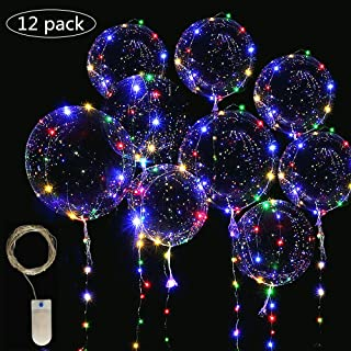 LED Light Up Bobo Balloons Fair String Lights,Cell Battery Operated LED Fairy String Lights 4 Meters(13ft) 12 Pieces,20 inch Transparent Light Up Bobo Balloons 18 Pieces, Usage for Wedding Birthday Party Decoration