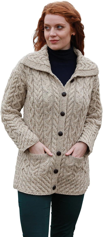 Irish Aran Knit Cardigan for Women 100% Merino Wool Long Sweater Made in Ireland