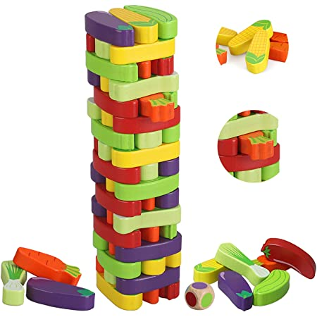 1 Set Stacking Blocks Durable Wooden Funny Building Blocks for Kids