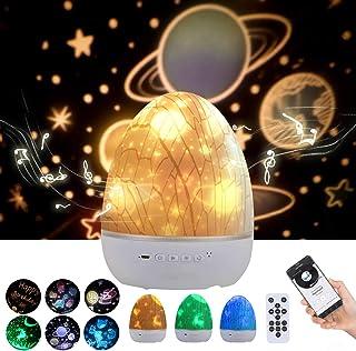 Lightess Lámpara Proyector Estrellas Infantil Música Altavoz Bluetooth 360° Rotación Proyector Estrellas Bebé USB Luz Nocturna Control Remoto por Niños, Fiestas, 6 Patrones de Proyección (dinosaurio)