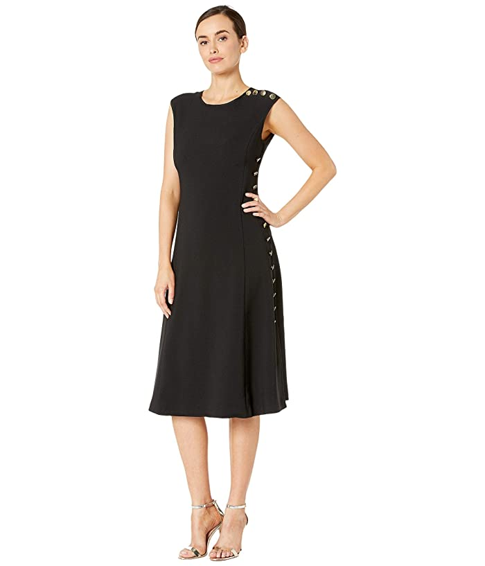 Maggy London  Mystic Crepe Fit and Flare Dress with Side Button Detail (Black) Womens Dress