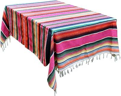 Sarape Saltillo Tablecloth Mexican Serape Blanket Purple and White