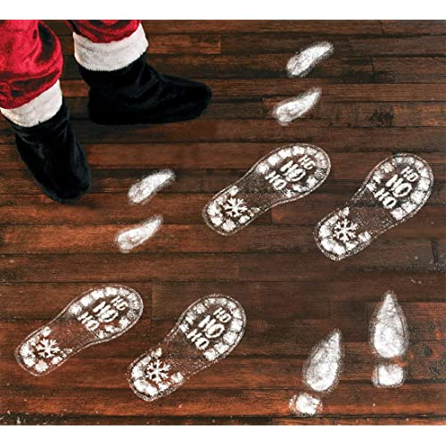 jollylife 128PCS Christmas Decorations Footprints Party Decals Clings Floor Stickers - Xmas Santa Claus/Elf