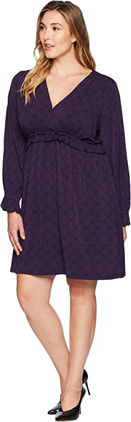 Plus Size Deco V-Neck Long Sleeve Shirtdress