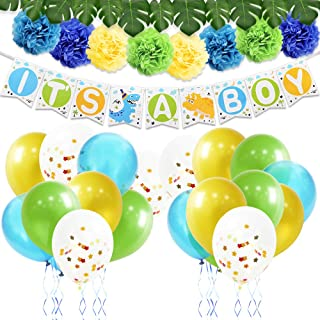 "WERNNSAI Dinosaur Party Decoration Kit - Baby Shower Party Supplies for Boys Including ""It's A Boy"" Banner Latex Balloons Paper Pom Poms Ribbons Artificial Monstera Leaves 43PCS"