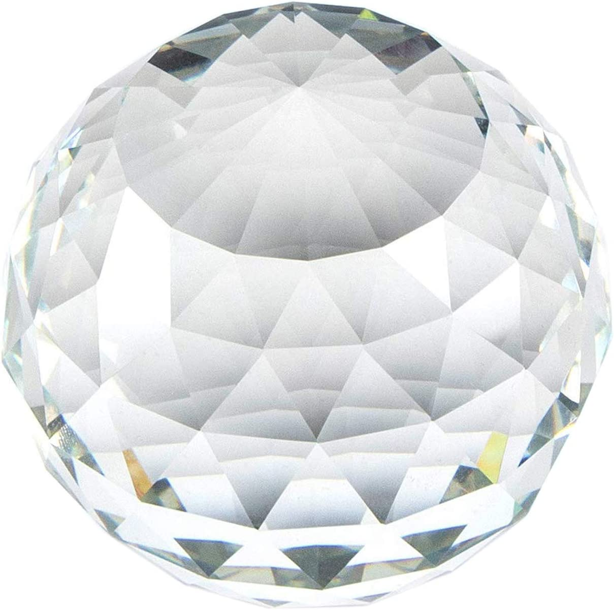 Qianwei K9 Clear Cut Crystal Glass Ball, 80mm Faceted Gazing Ball Crystals, Crystal Sphere Prisms Suncatcher for Home Decor, Window (80)