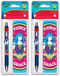 Wonder Woman Pen Set -- 2 Deluxe Pens with Bookmarks (Wonder Woman Office Supplies, School Supplies)