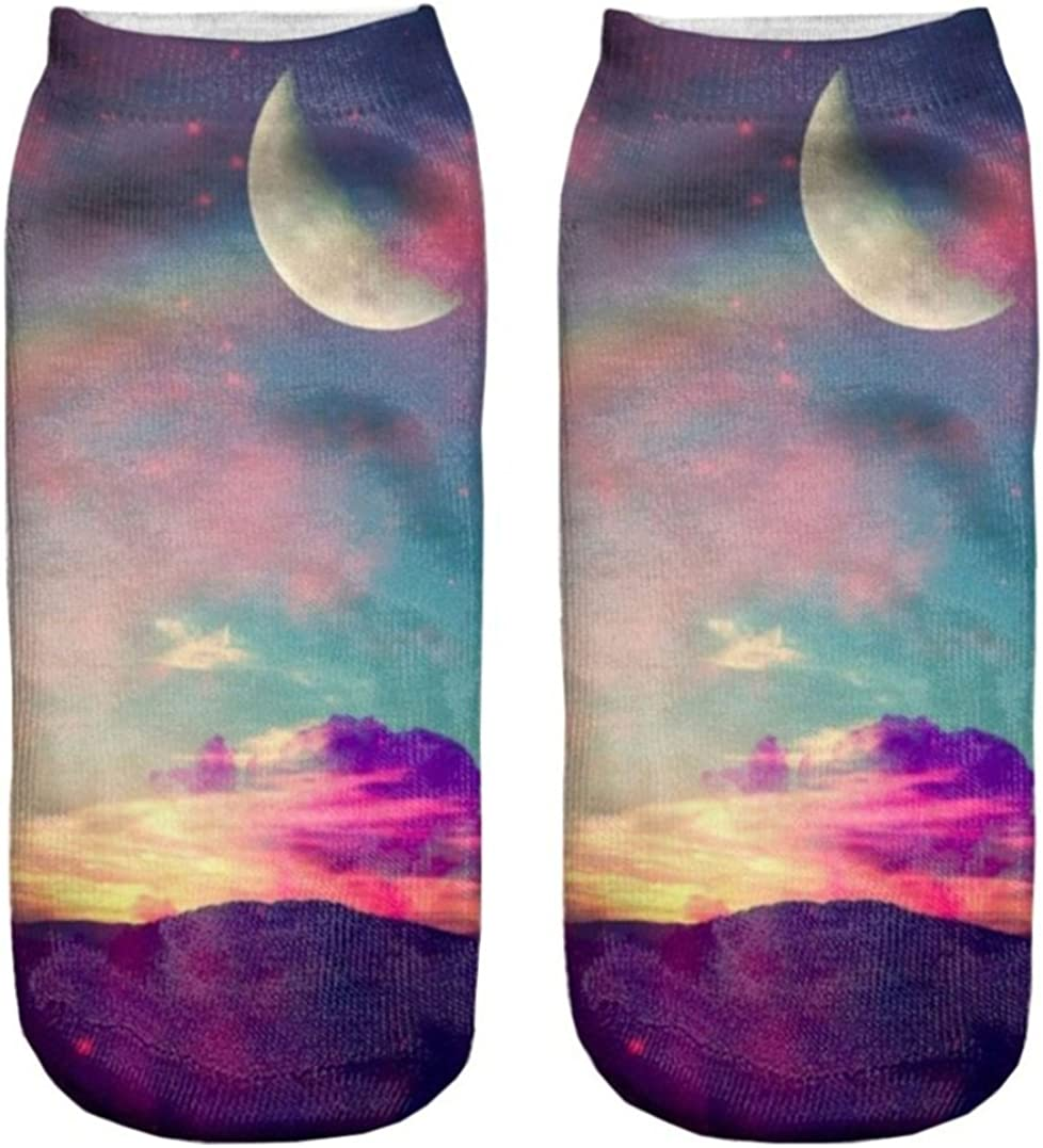 Doxi 3D Printed Unisex Cute Low Cut Ankle Socks Harajuku Style Pastel Moon