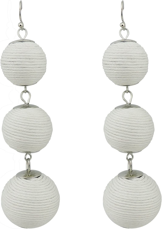 Coiris Handmade Thread Ball Beaded Dangle Earrings Drop Earrings for Women