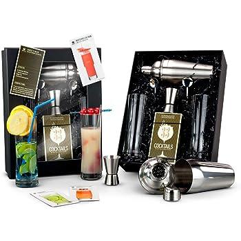 Römer Präsente Geschenkset Cocktailbox: 8-teilig, Cocktailshaker, Cocktailrezept-Box, 2 Longdrinkgläser + Löffel und 1 Barmaß in schwarzem Geschenkkarton