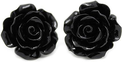 Bluebubble ENGLISH ROSE 22mm Midnight Black Carved Rose Stud