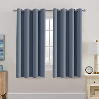 Blackout Thermal Insulated Curtains 63 Inche Length Light Blocking Curtain Panel Energy Saving Curtain 63 Ultra Soft and Smooth Grommets Drapes for Bedroom/Living Room (One Panel, Stone Blue)