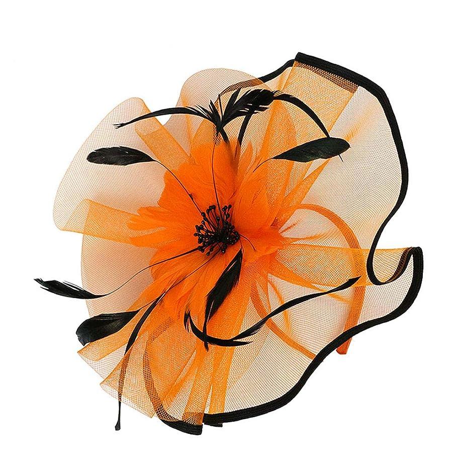 遅い大破寛大なLURROSE 花メッシュフェザーハットクリップ魅惑的な帽子メッシュフラワーヘアクリップヘッドバンドダービーウェディングティーパーティーヘッドウェア(オレンジ)