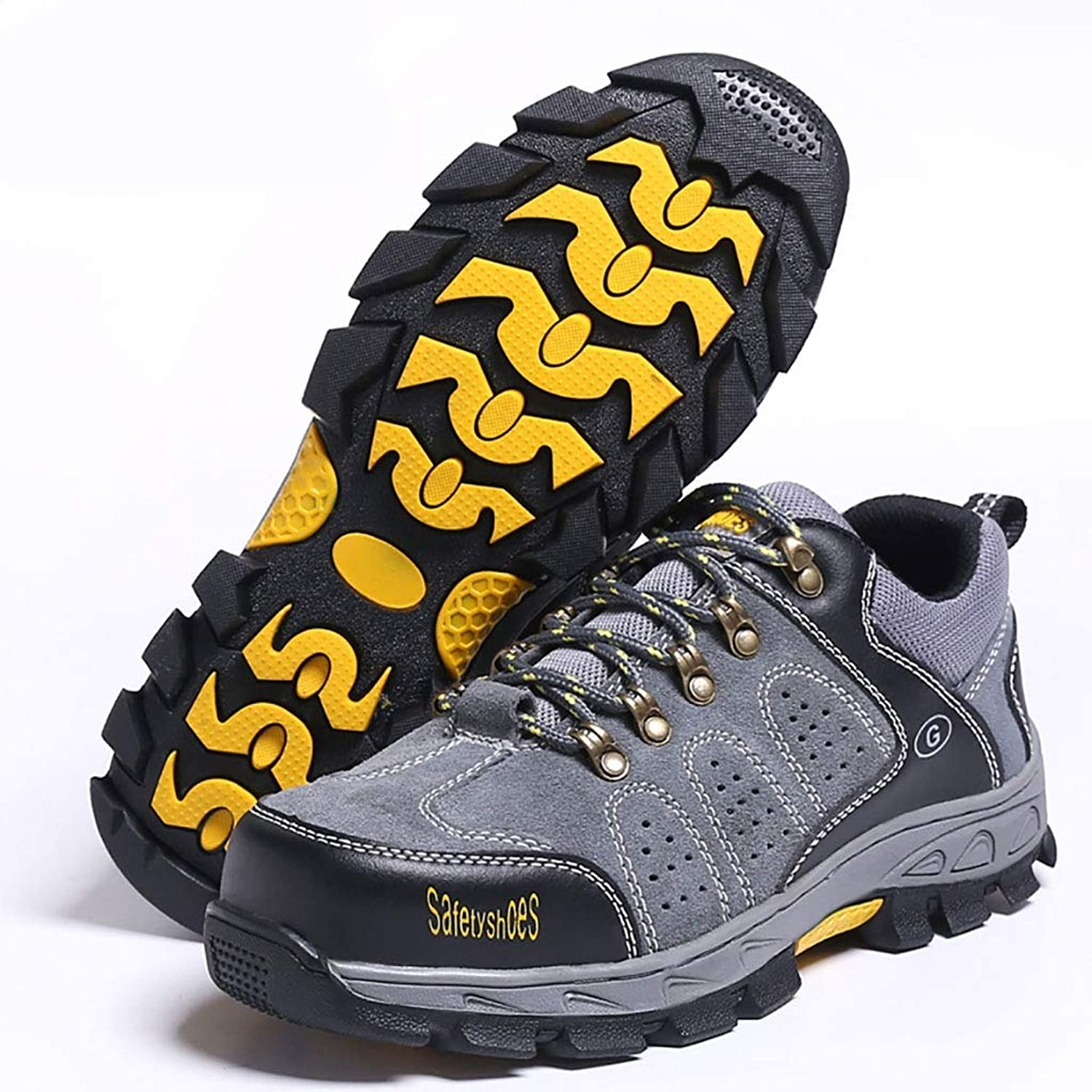 ZYFXZ Work shoes Men's steel toe cap work safety shoes, anti-mite puncture work shoes, breathable deodorant anti-skid shoes safety shoes (color   B, Size   44)