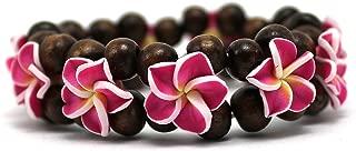 Hawaii FIMO Vibrant Stretch Wood Bead Plumeria CZ Luau Bracelet