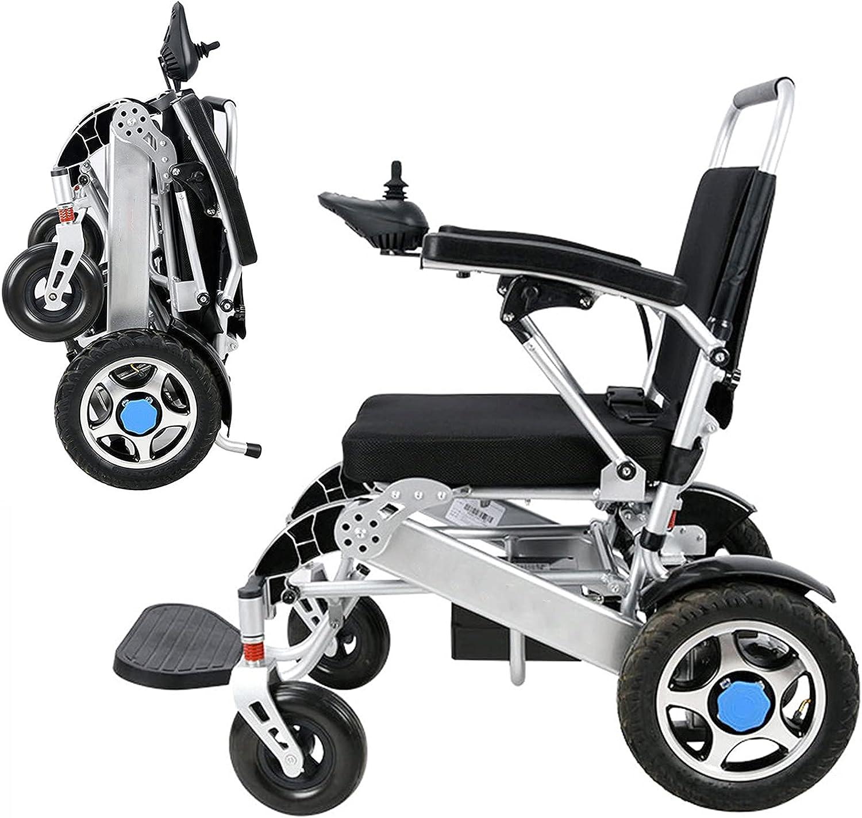 BJH Silla de Ruedas eléctrica portátil Plegable, Ligera, Plegable, de Lujo, Potente, Motor Doble, compacta, Silla de Ruedas de Ayuda para la Movilidad, para Personas Mayores con discapacidades,