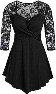JKLING Women Lace Patchwork Dress Chic Deep V-Neck Long Sleeve Tops Cotton Blend Soft Wrap Flowy Empire Waist Tops