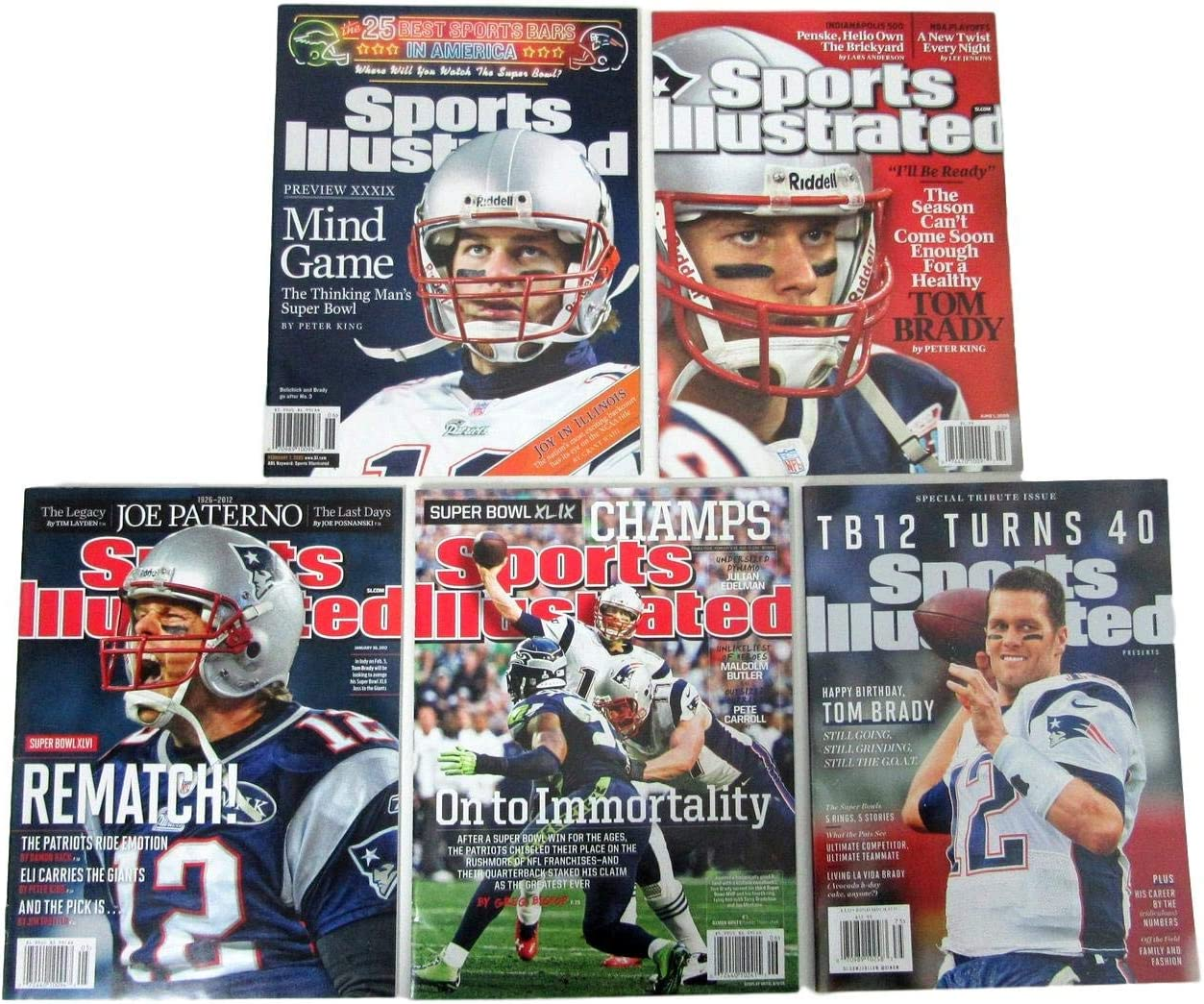 Lot of 5 Tom Brady Patriots Mags Large discharge sale Illustrated w No Sports 40% OFF Cheap Sale Mailing