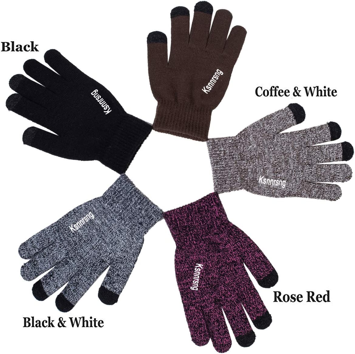 Ksnnrsng Winter Touchscreen Warm Knit Gloves for Women Men Thermal Wool Lined Texting Unisex