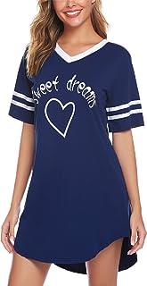Hawiton Camisón Mujer Verano Camisones de Algodon Ropa de Dormir Manga Corta Pijamas Vestir Camisónes Loungewear Elegante