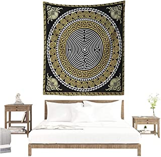 Agoza Greek Key Tapestry Classical Pattern with Intricate Design Spiral Waves Frame and Maze Home Decorations for Bedroom Dorm Decor 70W x 84L INCH Pale Yellow White Black