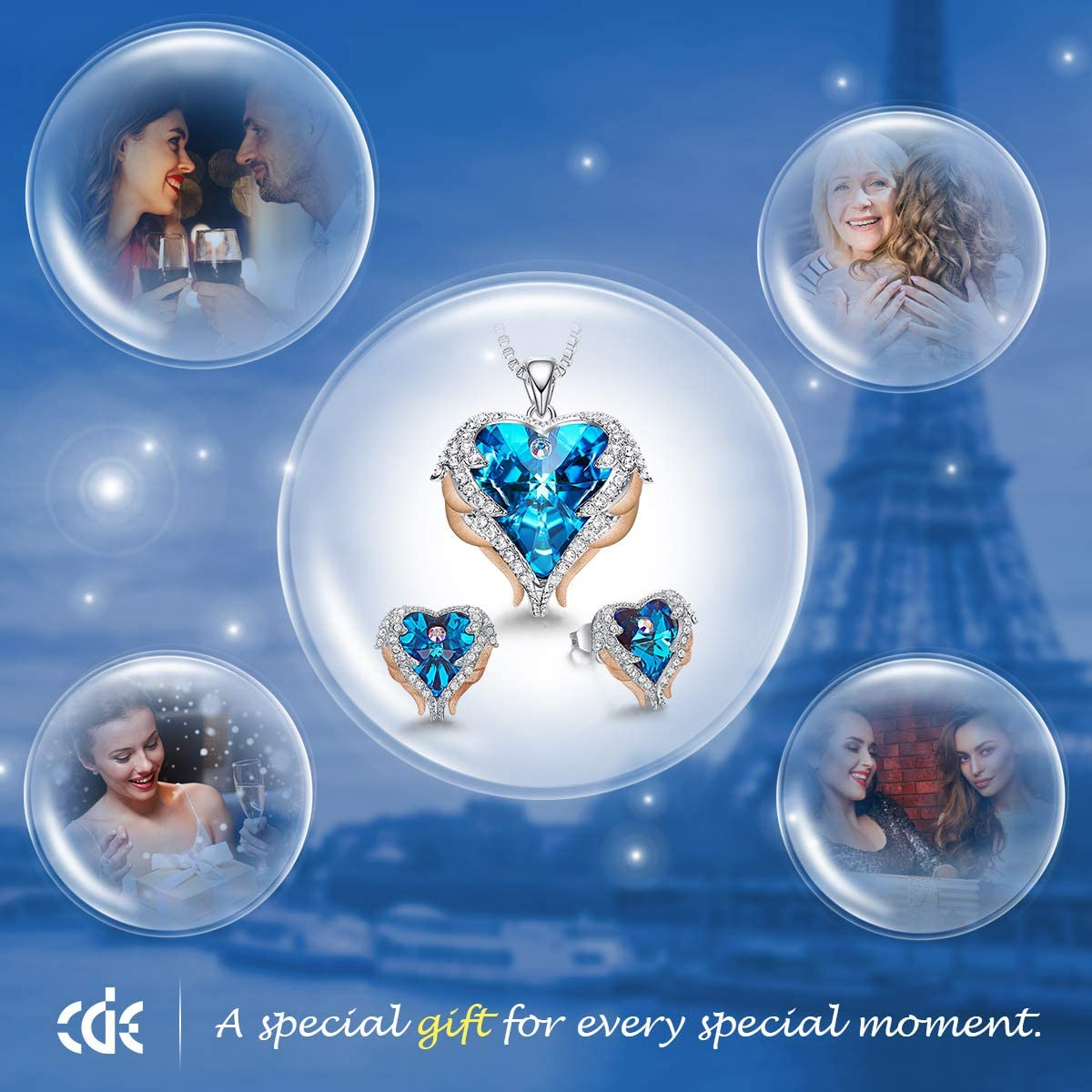 CDE Jewellery Sets for Women Angel Wings Crystal Heart Pendant Necklace and Earrings Sets Jewellery Birthday Gifts for Her/Mum/Wife/Bestfriend Rose Gold Blue