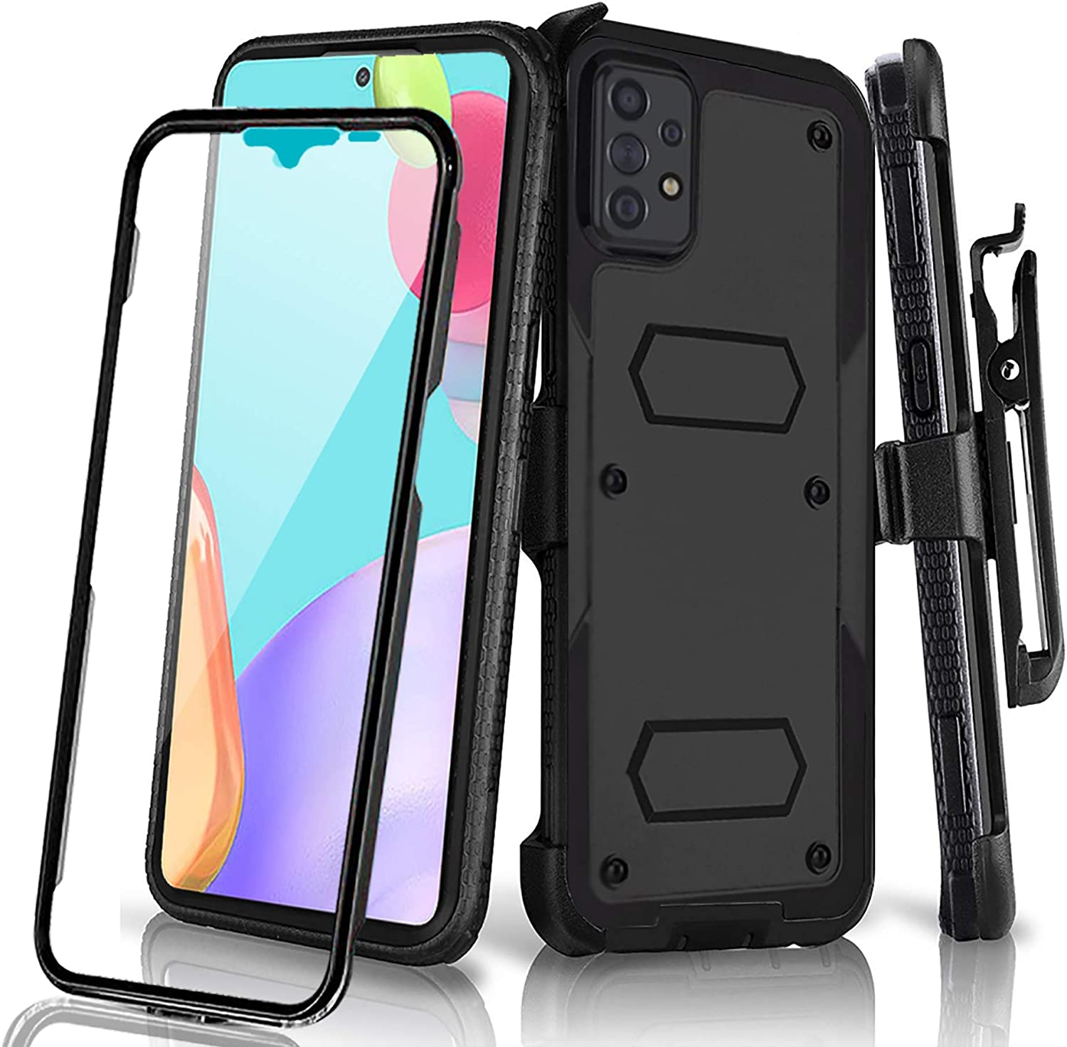 Holster Case for Samsung Galaxy A52 4G / 5G with Swivel Belt Clip, Built-in Screen Protector Heavy Duty Full Body Protection Shockproof Kickstand Cover for Outdoor Sports (Samsung A52)