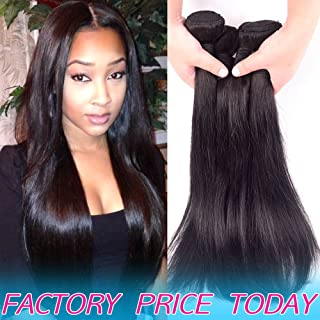 Brazilian Human Hair 3 Bundles Silky Straight Cheap Peruvian Remy Hair extensions Products Best Indian Virgin Hair Weave Natural Black Color Real 8A Unprocessed Malaysian Hair Weft 14 14 14 Inches