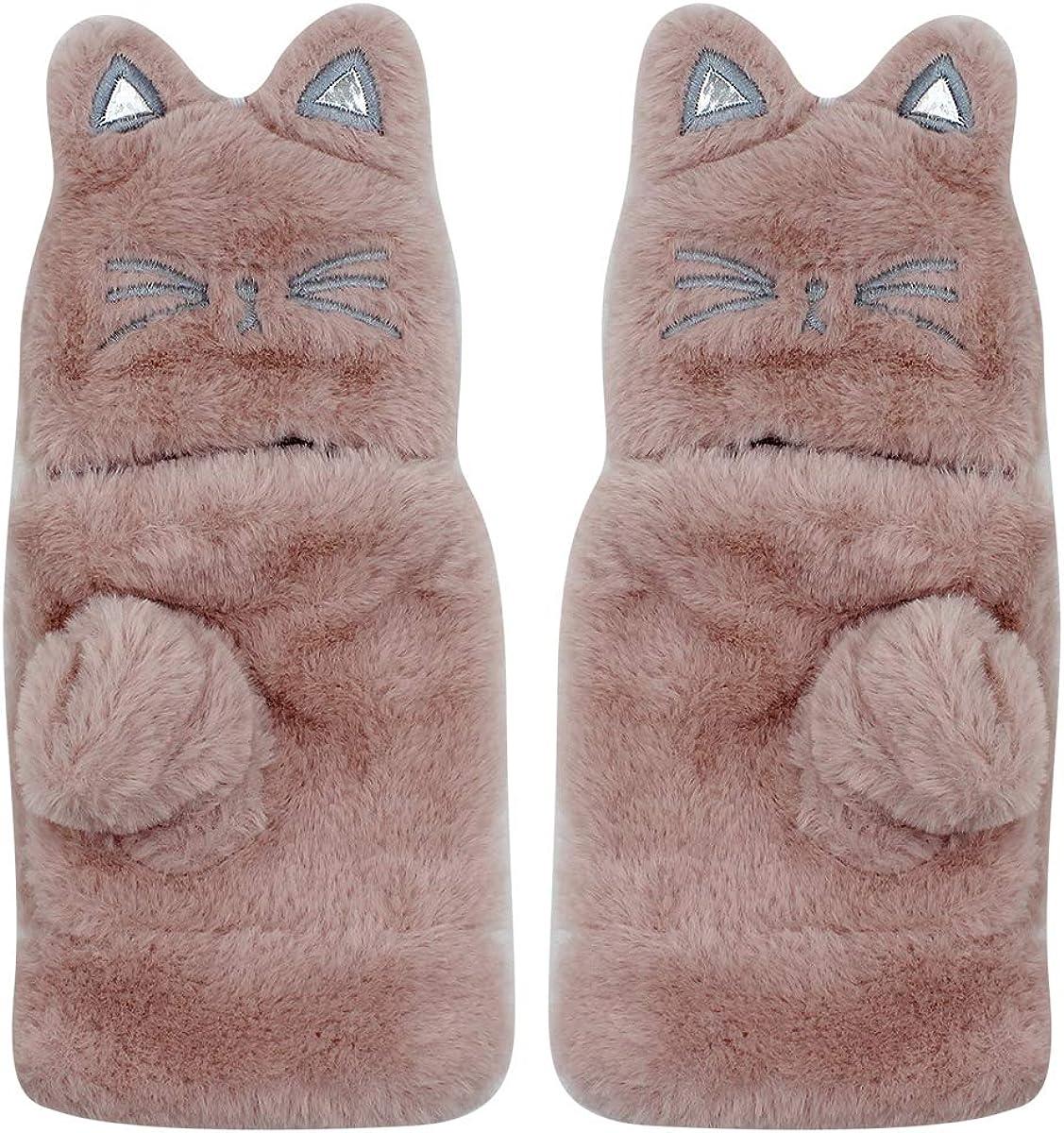 Women Girls Soft Faux Fur Convertible Flip Top Gloves Cute Cat Fingerless Winter Mittens