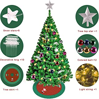 CILILION Christmas Tree Warm White LED Light Easy to Assemble Decorate Holiday,with Colored Ball,Snow Star,Decorative Twig,Light String,Tree Skirt,7 ft