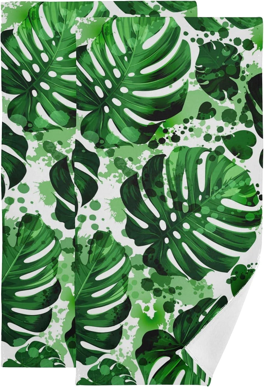 ALAZA Towel Sets Super special price for mart Bathroom Palm Monstera Tropical Bat Leaves