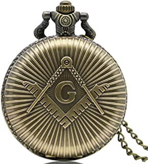 8042f0b21 Masón Masónico efecto bronce Retro/Vintage caso hombres de cuarzo reloj de bolsillo  collar –