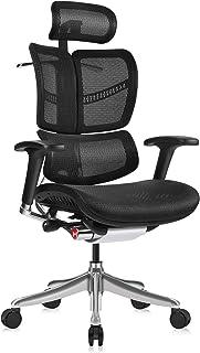 MOOJIRS角度調整可能なヘッドレストと傾斜リミッター付きの人間工学的なオフィスチェア|背もたれ高さ調整可能|クッション深さ調整可能|3次元背もたれと腰もたれと腰サポート|アルミ製フレーム/ホルダー カーペット用キャスター付き
