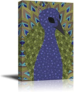 Beauty Decor Canvas Wall Art Detailed Jeweled Toned Zentangle Patterned Peacock Painting on Canvas with Stretched Frame Giclee Print Ready to Hang Home Office Decorations, 24