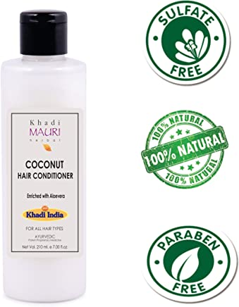 Khadi Mauri Herbal Coconut Hair Conditioner - SLES & PARABEN FREE - 3 x Natural Conditioners Used for Hair Repair & Silkiness - 210 ml - Enriched with Aloe Vera