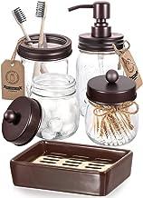 AOZITA 5 Pcs Mason Jar Bathroom Accessories Set - Mason Jar Soap Dispenser & 2 Apothecary Jars & Toothbrush Holder & Ceram...