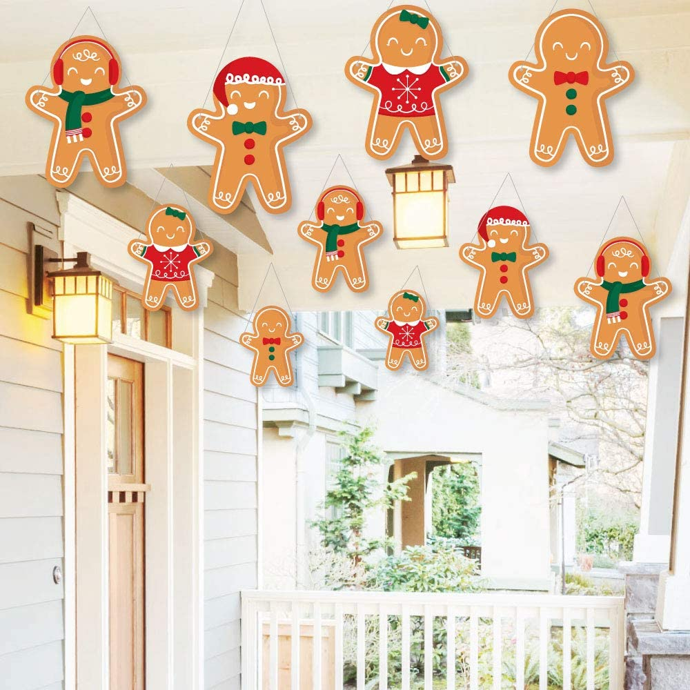 Big Dot of Happiness Hanging Gingerbread Christmas - Outdoor Gingerbread Man Holiday Party Hanging Porch and Tree Yard Decorations - 10 Pieces