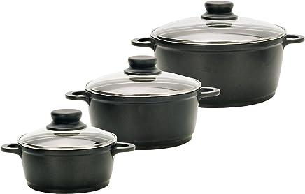 ELO M+K 62013 Black Cast - Batería de Cocina, 3 ollas, Color