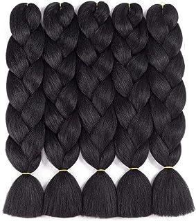 Braiding Hair Kanekalon Synthetic Braiding Hair Extensions 5pcs/lot 24inch Jumbo Braiding Hair (1B)