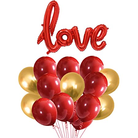 Party Propz Happy Anniversary Combo - 31Pcs metallic balloons and 1set love balloons -for love balloons/anniversary decorations