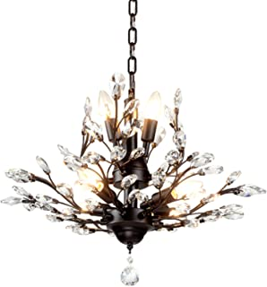 SEOL-LIGHT Vintage Crystal Branch Chandeliers Black Ceiling Pendant Light Flush Mounted Fixture With 7 Light,Max280W For Living Room Dinning Table Porch